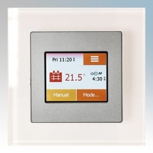 Heatmat TOU-SIL-WHTE NGTouch Silver Electronic Colour Touchscreen Thermostat & Timer On White Faceplate For Underfloor Heating Systems 16A