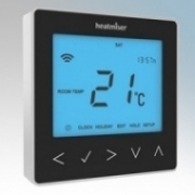 Heatmat NEO-16A-BLCK neoStat-e Black Electronic Programmable Thermostat & Timer With Blue Backlit Display 3600W 16A