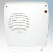 Eterna DFH2KW White Wall Mounting Downflow Fan Heater With Adjustable Thermostat, 1kW/2KW Load Switch & Pullcord IP21 2kW W:235mm x H:245mm x D:120mm