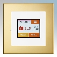 Heatmat TOU-WHT-BRSS NGTouch White Electronic Colour Touchscreen Thermostat & Timer On Brass Faceplate For Underfloor Heating Systems 16A