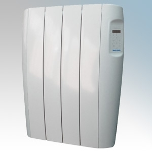 Vent-Axia 448469 VAAR500 Opal White Aluminium Low Energy Electric Radiator With Programmble Digital Controls & Wall Mounting Brackets IP24 500W W:460mm x H:584mm x D:96mm