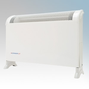 Consort CN1MLSTFS CN Series White Portable Low Surface Temperature Fan Heater With Thermostat & Internal Mesh Grille 1000W H:420mm x W:590mm x D:160mm