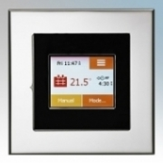 Heatmat TOU-BLK-CHRM NGTouch Black Electronic Colour Touchscreen Thermostat & Timer On Chrome Faceplate For Underfloor Heating Systems 16A