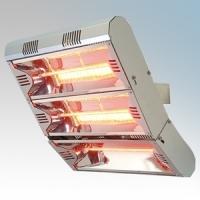 Vent-Axia 447604 VARI6000 Grey Quartz Heater With 2 x Gold Lamp & Wall Mounting Bracket 6.0kW L:496mm x W:515mm x D:313mm