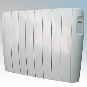 Vent-Axia 448472 VAAR1250 Opal White Aluminium Low Energy Electric Radiator With Programmble Digital Controls & Wall Mounting Brackets IP24 1250W W:940mm x H:584mm x D:96mm