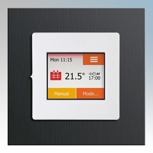 Heatmat TOU-SIL-BLAU NGTouch Silver Electronic Colour Touchscreen Thermostat & Timer On Black Aluminium Faceplate For Underfloor Heating Systems 16A