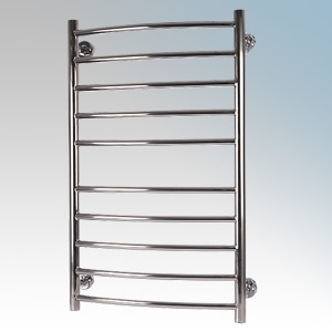 Hyco AQ90LC Aquilo LST Stainless Steel Curved Ladder Style Low Surface Temperature Towel Rail With Wall Mounting Kit IPX4 90W 230V W:600mm x H:1020mm x D:180mm