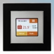 Heatmat TOU-SIL-BLCK NGTouch Silver Electronic Colour Touchscreen Thermostat & Timer On Black Faceplate For Underfloor Heating Systems 16A