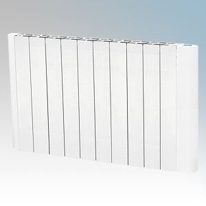 Hyco AVG1800T Avignon White Slimline Low Curved Energy Electric Radiator With Digital Thermostat & Timer IP20 1800W W:960mm x H:575mm x D:80mm